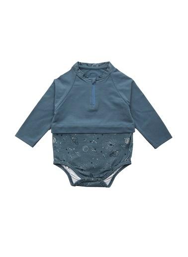 Nila Kids Gri-Mavi Rengi Cosmos Erkek Organik Body NK01010GM (3 AY- 1 YAş) Mavi